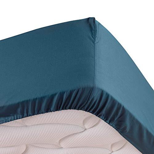 DOUCEUR D'INTERIEUR drap housse 2 personnes 140 x 190 cm percale uni percaline bleu