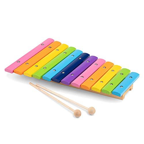 Toys-10236 New Classic Toys-10236-juguete Instrumento Musical de Juguete, Xilófono, 2 año(s), Niño/niña, Multicolor, Color Madera (10236)