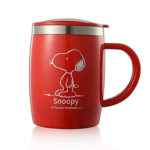 Finex Snoopy Edelstahl-Kaffeebecher mit auslaufsicherem Deckel, großer breiter Griff, rutschfester Boden, für Zuhause, Büro, Camping, Strand, Reisen rot