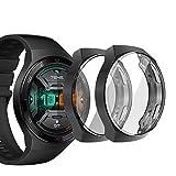 sciuU Cover Protettiva per Huawei GT 2e (Uscita 2020), [Set di 2] Custodia con Protezione di Schermo in TPU, Morbida Copertura per Smartwatch Huawei GT 2e - Nero * 2