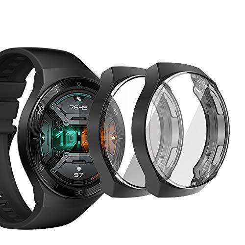 sciuU Funda para Huawei GT 2e (Lanzado en 2020), [Conjunto de 2] Carcasa Protectora con Protector de Pantalla de TPU, Flexible Suave TPU Cubierta, Resistente a los Golpes Shell - Negro * 2