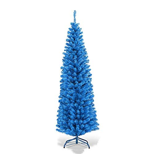 Blue 6FT Slim Pencil Christmas Tree With Metal Stand And 520 Branch Tips Lush And Dense Leaves Giving Realistic Appearance Perfect For Home Courtyard Or For Commercial Place Use Holiday Home Decor
