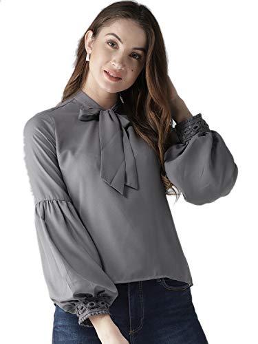 Style Quotient Women Grey Solid Top-M-Grey