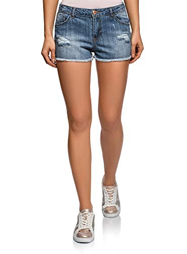 oodji Ultra Mujer Pantalones Cortos Vaqueros con Rasgaduras, Azul, ES 36 / XS