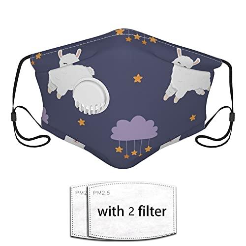 Nicegift Máscara Facial Reutilizable,Alpaca Clouds and Stars con válvula de Aire y Pendientes Ajustables,Apto para Uso público en Exteriores 2 filtros