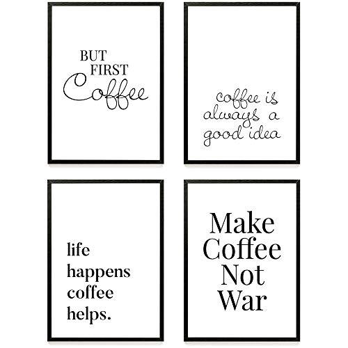 Heimlich ® Premium Poster Set | Stilvolles Set mit passenden Bilder in Schwarz-Weiß | 4 Stück in DIN A4 (21x30cm) | Ohne Bilderrahmen » Kaffee «