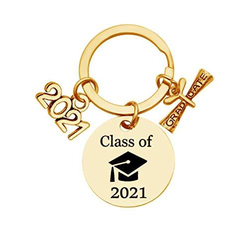 TINGYA Portachiavi di laurea Regali Classe del 2021, berretto laurea, pergamena, ciondolo Portachiavi in acciaio inossidabile Regali ispiratori per uomini, donne, festa di laurea (Gold keychain)