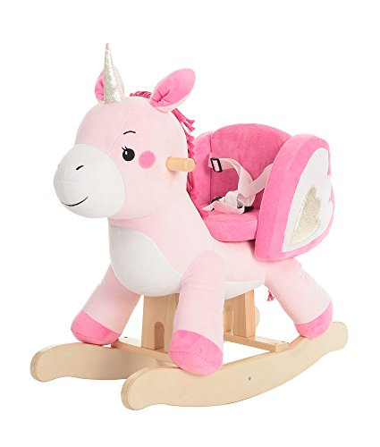 labebe - Baby Rocking Horse, Ride Unicorn, Kid Ride On Toy for 1-3 Year Old, Infant (Boy Girl) Plush Animal Rocker, Toddler/Child Stuffed Ride Toy (Pink)