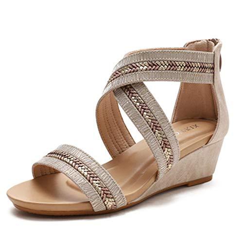 Sandalias de Punta Abierta para Mujer Verano Exterior Talón Pendiente Roma Zapato Senderismo Movimiento Shoes (Color : Beige, Size : 36)