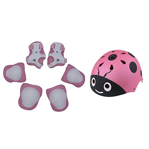 YAKOK Juego de casco para niños, 7 piezas, diseño de escarabajo, casco de seguridad con equipo de protección, juego para bicicleta, scooter, monopatín para niños y niñas, edad 3-12, 50-54 cm (rosa)