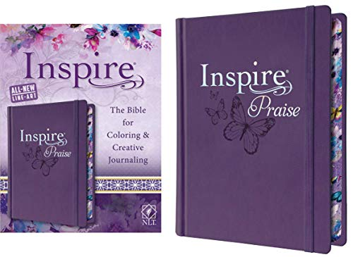 Tyndale NLT Inspire PRAISE Bible (Hardcover LeatherLike, Purple): Inspire Coloring Bible–Over 500 Illustrations to Color, Creative Journaling Bible Space-Religious Gifts to Inspire Connection with God