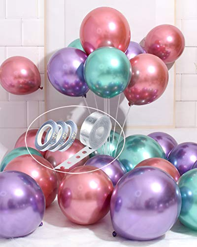 AULE Party Balloons 50 Pcs 12 Inch Purple Green Hot Pink Chrome Metallic Latex Balloons, DIY Colorful Balloon Arch Garland Kit, Birthday Gender Reveal Bachelorette Carnival Party Decorations