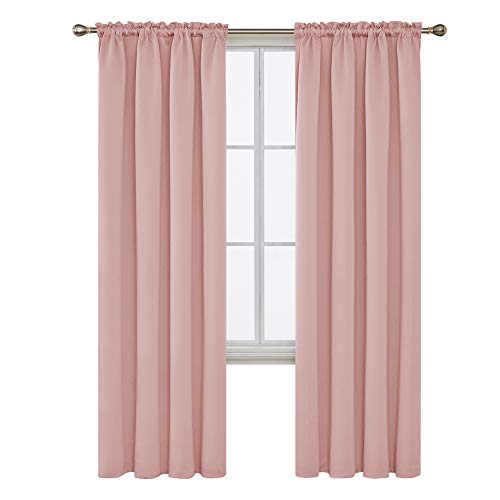 Deconovo Blackout Curtains 84 Inch Pink Curtain Rod Pocket Room Darkening Window Curtain Home Curtains for Living Room 42Wx84L Inch Coral Pink 2 Panels