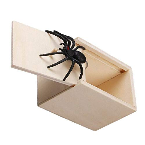 Justdodo Tricky Toy Shivering Scared Wood Box Persona Completa Parodia Pequeña Caja de Insectos Spider Box Scary Horror Small Wood Box-Brown