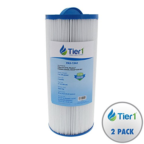 Tier1 Jacuzzi J300 6541-383, Pleatco PJW60TL-OT-F2S, Filbur FC-2715, Unicel 6CH-961 Comparable Replacement Spa Filter 2-Pack Bundle with Tier1 Wand Brush Filter    Cleaner