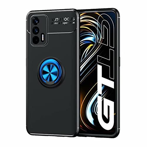YIKLA Funda para Realme GT 5G, Suave TPU Silicona Carcasa, 360° Ring Magnético Bracket Case, Armor Bumper Antigolpes Case Cover, Azul-Negro