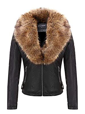 Bellivera Women's Faux Leather Short Jacket, Moto Jacket with Detachable Faux Fur Collar Blackyellow Large