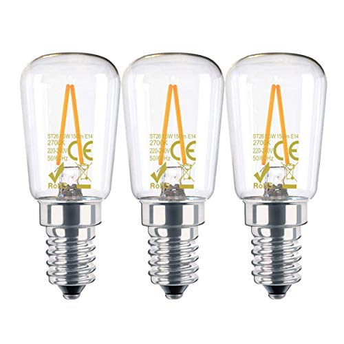 CAMORF LED Fridge Bulb CRI 85+,ST26 LED Cooker Hood Bulb,No Flicker Warm White 2700K LED Light Bulbs 1.5W (15W Equivalent) E14 LED Filament Bulb SES for Freezer/Refrigerator/Cooker Hood-3 Pack