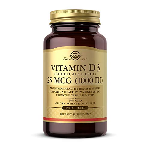 Solgar Vitamin D3 Cholecalciferol 25 MCG 1000 IU 250 Softgels  Helps Maintain Healthy Bones amp Teeth  Immune System Support  NonGMO Gluten Free Dairy Free  250 Servings