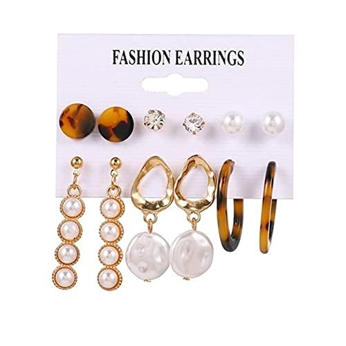 FEARRIN Vintage Earrings Antique Women Earrings Set Acrylic Pearl Earrings for Women Bohemian Leopard Tassel Earrings Jewelry H4-ZL807-3