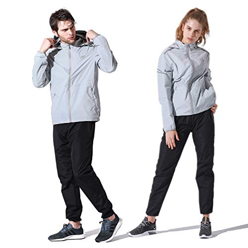 Perkisboby サウナスーツ 5倍発汗 メンズ レディース ダイエットウェア 上下セット 高機能サウナスーツ 男女兼用 運動着 ランニングウェア 脂肪燃焼 トレーニングウェア 防水 (ライトグレー, XL)