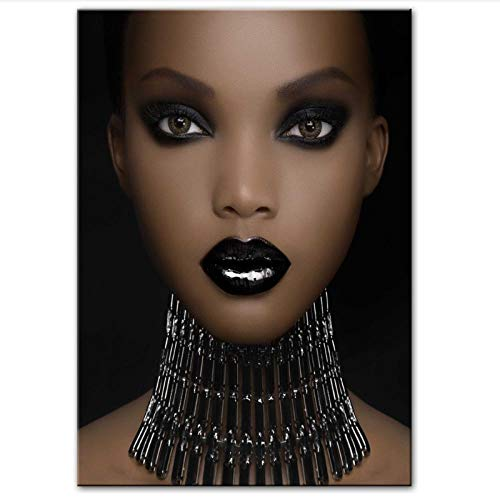 MULMF Afrikaanse kunst druk make-up zwarte meisjes canvas foto's op de muur posters en druk moderne canvas afbeelding wanddecoratie - 50X70cm zonder lijst