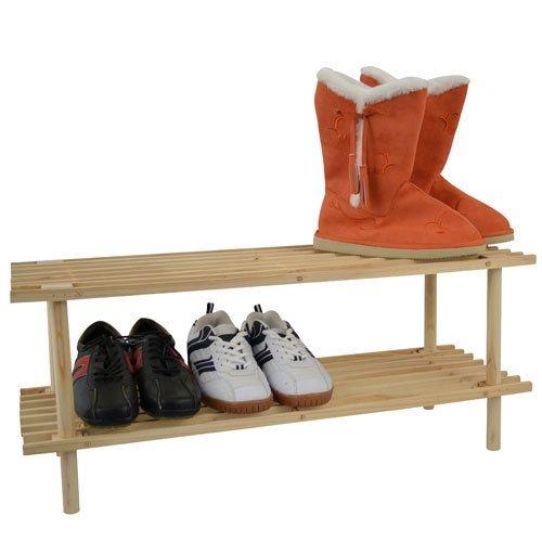 Spetebo Étagère à Chaussures à 2 Fond en Bois de Sapin Non traité – Charge maximale par Sol 10 kg