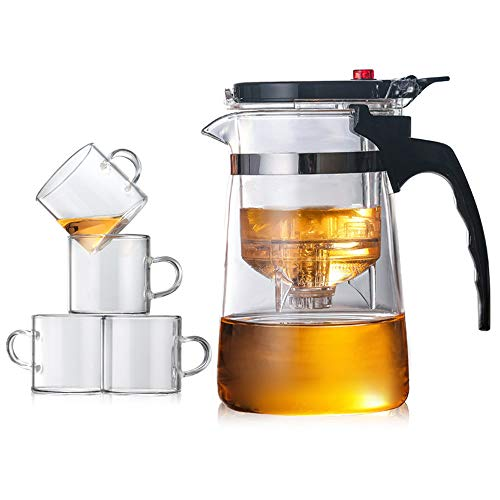 ZHJIUXING DQ potenciar Tetera de Vidrio, Tetera de Vidrio fácil de filtrar Tetera con colador de té de plástico para PC, un botón para filtrar té, 850ml+4cup