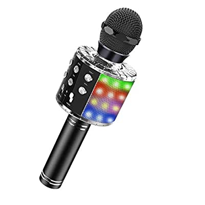 ATOPDREAM Kids Microphone for 4-7 Year Old Boys Bluetooth Karaoke Microphone with LED Lights Birthday Christmas Halloween Stocking Stuffer Gifts for Girls Boys Age 5-12 by ATOPDREAM
