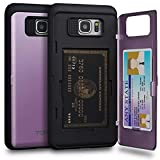 TORU CX PRO Note 5 Wallet Case Purple with Hidden Credit Card Holder ID Slot Hard Cover & Mirror for Samsung Galaxy Note 5 - Lavender