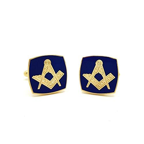 BOBIJOO Jewelry - Boutons de Manchette Franc Maçon Laiton Doré à l'or Fin Email Bleu Carré Maçonnerie Masonic Freemason