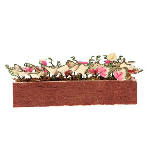 SM SunniMix 1/12 Casa de Muñecas Plantas de Arcilla en Miniatura Flor con Maceta de Madera Decoración de Jardín