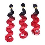 Cvthfyk Cheveux brésiliens Africo Body Wave 3 Bundles - 1B / Bug Tissage de Cheveux Bicolore Noir et Rouge (Color : Red, Size : 20'-20'-20')
