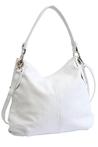 AMBRA Moda Damska prawdziwa skórzana torebka na ramię torebka Shopper torba na ramię GL012, biały - biały - l
