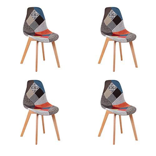 WV LeisureMaster - Set di 4 sedie per Sala da Pranzo, in Tessuto Patchwork, Imbottite, con Base in...