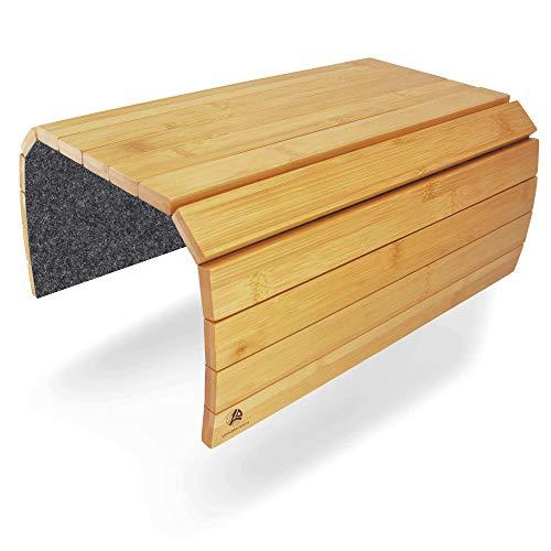 Leander Design® Sofatablett rutschfest – Flexible Holz Tablett – Armelehnen Sofa Butler aus...