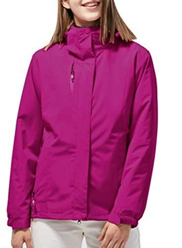 LOSRLY Damen Wasserdichte 3-in-1 Winterjacke Warm Fleece Kapuze Snowboard Mountain Snow Coat Parka Jacke Damen Gr. 52, violett
