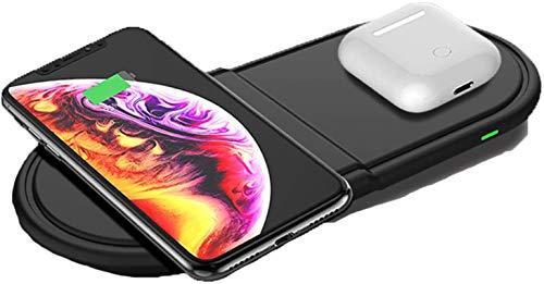 OH Cargador Inalámbrico, 2 en 1 Estación de Carga Rápida para Airpods Pro / 2 / Iphone 12/12 Pro / 11 / X/Xs/Se/Samsung Galaxy S20 / S10 / S9 / Note 10 / Galaxy Buds Compatibi