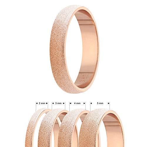 Treuheld® | 925 Sterling Silber Ring | Roségold | Ringgröße 62 | Breite 3mm | Damen & Herren | Diamant Optik/Matt/Sandgestrahlt | Finger-Ring