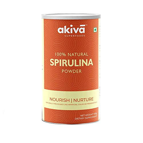 AKIVA Natural Spirulina Superfood Powder, 100 grams - Rich in Antioxidant, Minerals, Fatty Acids, Fiber and Protein - Non-GMO Vegan Supplement by Akiva Superfoods