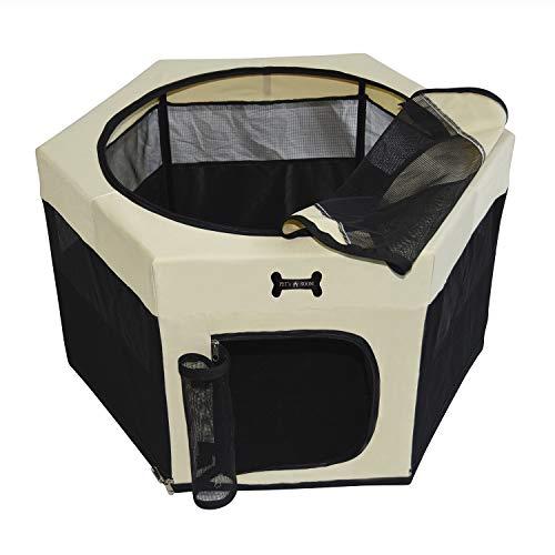 MC Star Faltbarer Welpenlaufstall Welpenauslauf Hundehütte Tierlaufstall Haustier Zelt für Hunde, Katzen, Hasen (Schwarz, 90 * 90 * 61CM)