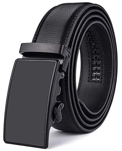 X XHtang Gürtel Herren Automatik Gürtel mit Automatikschließe-3,5cm Breite, Schwarz1, Länge 125cm Geeignet für 37-43 taille