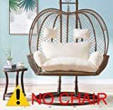 Thick Balcony Egg Nest Chair Pad,Oversized 2 Persons Seater Hanging Hammock Chair Cushion,Basket Swing Seat Mat for Indoor Outdoor Patio Backyard Lawn White 150x110x12cm(59x43x5inch)