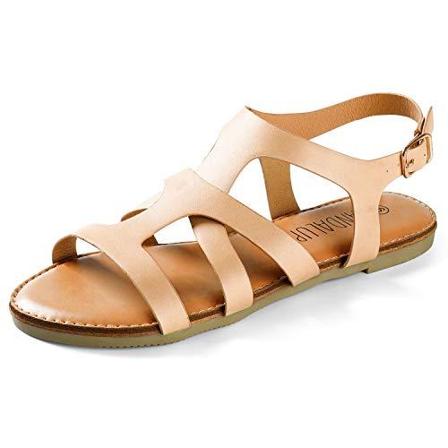 SANDALUP Open Toe Flat Sandals for Women Khaki 09
