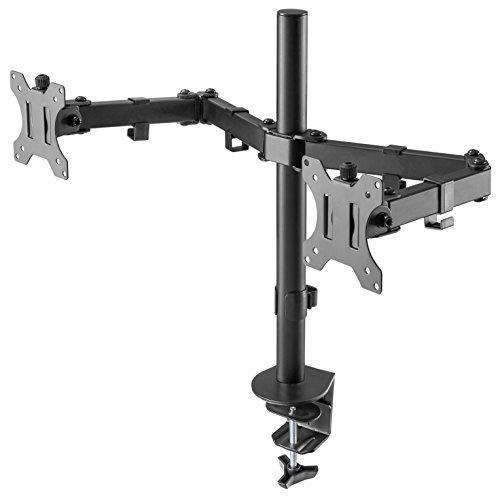 RICOO PC Monitor-Halterung 2 Monitore Schwenkbar Neigbar (TS6711) Bildschirm-Ständer für 13-27 Zoll (bis 8-Kg je Schwenk-Arm, Max-VESA 100x100) Tisch-Stand-Fuß Höhenverstellbar