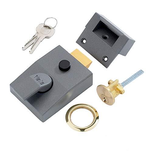 Yale P89 Sicherheitsschloss mit Riegel, Zylinder mit Messing-Finish, Dornmaß 60mm, Dunkelgrau metallic
