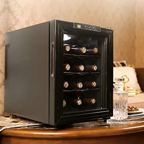 Nuitab Wijnkoelkast wijnkoeler 12 flessen wijnkoeler 12-18 ° C temperatuur Zone 4 rekken UV-bestendig glazen deur blauwe LED-licht zwart-51,5 × 35,5 × 48,5 cm