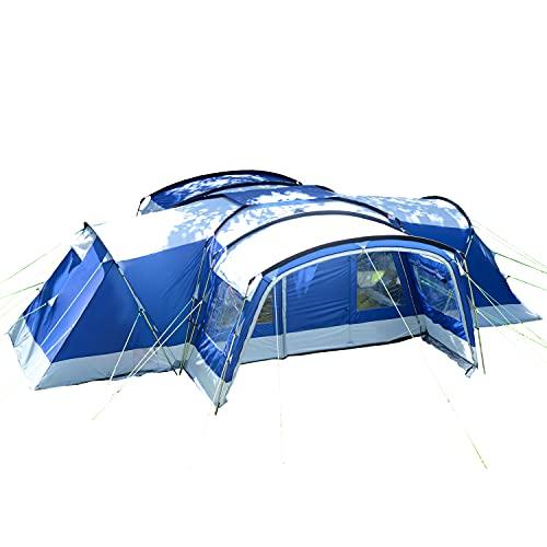 Skandika Nimbus 12 - Tente familiale 12 Personnes - 630 x 760 cm - avec/sans Tapis de Sol Cousu - avec/sans Cabines Sombres (avec cabines Sombres/Bleu)