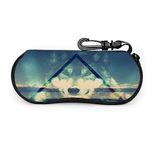 Triangles Wolf Gses Case Waterproof Soft Eyegs Case Premium Sungses Box Lightweight Sungses Storage Portable Zipper Eyegs Case for All Gses