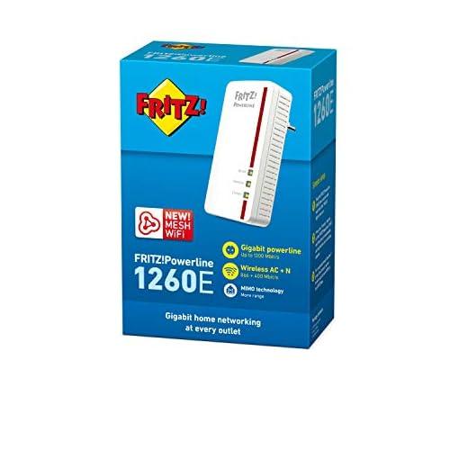 AVM FRITZ!Powerline 1260E Single WLAN International - Adaptador/extensor de red por línea eléctrica, PLC, compatible… 4